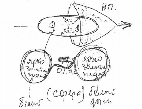 Эскиз Ковалёнка объекта, который он видел в космосе 14 мая 1981 года с борта